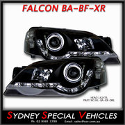 HEADLIGHTS FOR BA-BF FALCON XR6 XR8 - DRL STYLE - BLACK