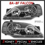 HEADLIGHTS FOR BA-BF FALCON XT - FACTORY STYLE - BLACK