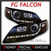 HEADLIGHTS FOR MK1 FG FALCON XT FPV GT & G6 G6E - DRL STYLE - BLACK