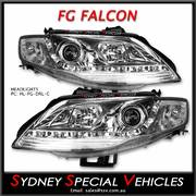 HEADLIGHTS FOR MK1 FG FALCON XT FPV GT & G6 G6E - DRL STYLE - CHROME