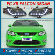 HEADLIGHTS FOR MARK 2 FG FALCON XR6 XR8 - DRL STYLE - BLACK
