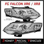 HEADLIGHTS FOR FG FALCON XR6 XR8  - DRL STYLE - CHROME