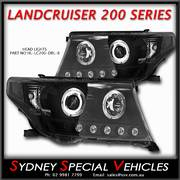 HEADLIGHTS FOR LANDCRUISER 200 SERIES BLACK ANGEL EYE PROJECTOR STYLE