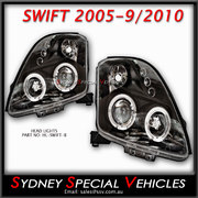 HEADLIGHTS FOR SWIFT 2005 - 2010 - BLACK PROJECTOR STYLE WITH ANGEL EYES