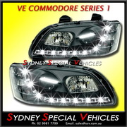 HEADLIGHTS FOR VE COMMODORE SERIES 1 - PAIR - BLACK DRL STYLE
