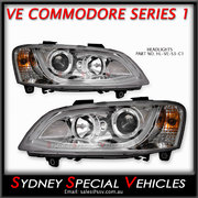 HEADLIGHTS FOR VE COMMODORE SERIES 1 - CHROME  DRL WITH CONTINUOUS LED STRIP