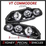 HEADLIGHTS FOR VT COMMODORE, MONARO, WH STATESMAN - WITH ANGEL EYES