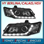 HEADLIGHTS FOR VY CALAIS, BERLINA & HSV MODELS - DRL STYLE - BLACK