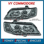 HEADLIGHTS FOR VY COMMODORE - DRL STYLE - CHROME