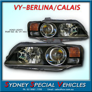 HEADLIGHTS FOR VY CALAIS & HSV MODELS - FACTORY PROJECTOR STYLE BLACK