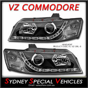 HEADLIGHTS FOR VZ COMMODORE - DRL STYLE - BLACK
