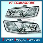 HEADLIGHTS FOR VZ COMMODORE - DRL STYLE - CHROME