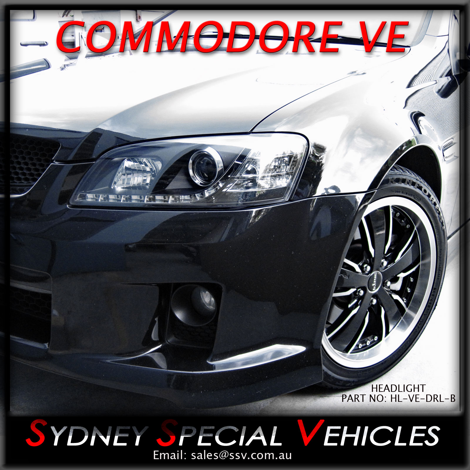 VE COMMODORE PROJECTOR LED DRL HEADLIGHTS OMEGA SS SSV HSV PAIR BLACK