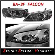 HEADLIGHTS FOR BA-BF FALCON - DRL STYLE - BLACK