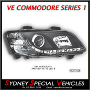 HEADLIGHT FOR VE COMMODORE SERIES 1 - RIGHT HAND - BLACK DRL