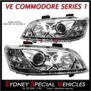HEADLIGHTS FOR VE COMMODORE SERIES 1 - CHROME  DRL STYLE