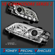 HEADLIGHTS FOR VE COMMODORE SERIES 2 - CHROME  DRL STYLE